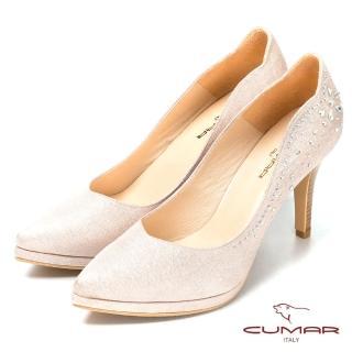 【CUMAR】氣質美人優雅水鑽排列高跟美鞋(金)