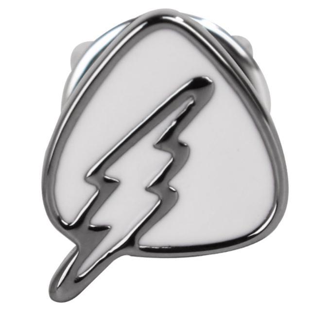 【agnes b.】三角盾牌閃電穿式耳環(白底銀邊/單隻)