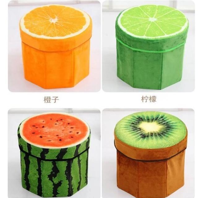 【May Shop】創意仿真水果收納盒凳子 鳳梨 西瓜 木頭 檸檬 橘子 奇異果(多款選擇)