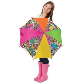 【美國ALEX】繽紛彩繪傘-甜心派(內附6色防水彩色筆)