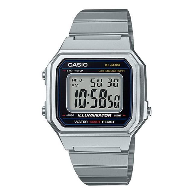 【CASIO 卡西歐】電子男錶 不鏽鋼錶帶 銀x黑 防水 全自動日曆(B650WD-1A)