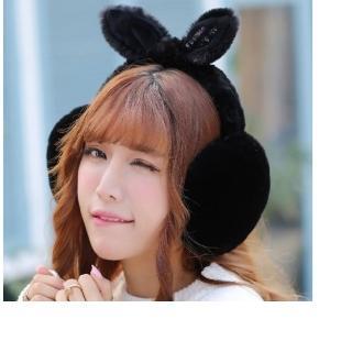 韓風 絨毛兔耳朵耳罩-黑色(雜誌款 保暖耳罩 聖誕裝扮禮物)