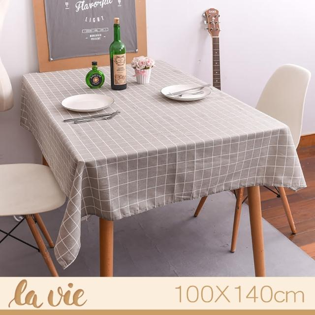 【La Vie】zakka 現代簡約灰色格子餐桌布(100X140cm)