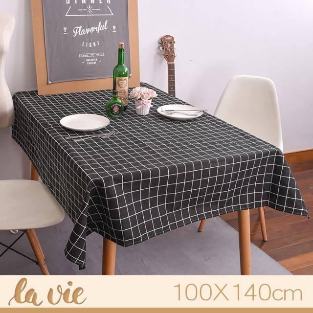 【La Vie】zakka 現代簡約黑色格子餐桌布(100X140cm)