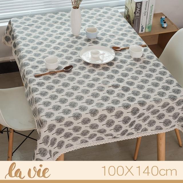 【La Vie】zakka 現代簡約小樹蕾絲花邊餐桌布(100X140cm)