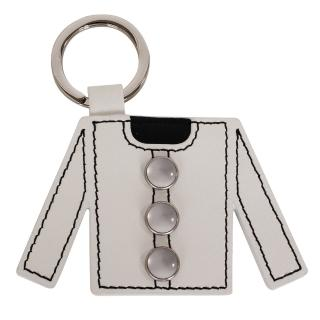 【agnes b.】衣服造型皮革鑰匙(白)
