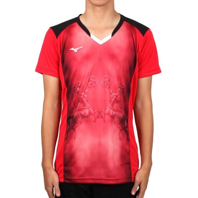 【MIZUNO 美津濃】男排球短袖上衣-2017企業排球聯賽-短T T恤 美津濃 紅黑(V2TA7A3081D)