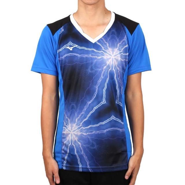 【MIZUNO 美津濃】男排球短袖上衣-2017企業排球聯賽-短T T恤 美津濃 藍黑(V2TA7A3083D)