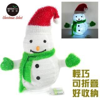 【摩達客】聖誕彈簧折疊小雪人 LED燈電池燈 擺飾 42cm 方便輕巧好收納