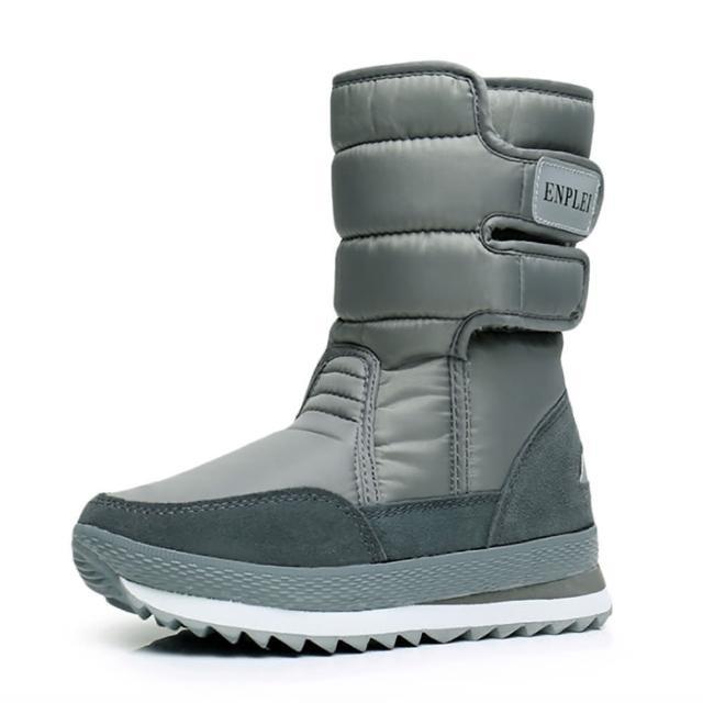 【Kidsfam】雪季踏青全真羊毛防水保暖太空靴(典藏灰大人全尺碼)