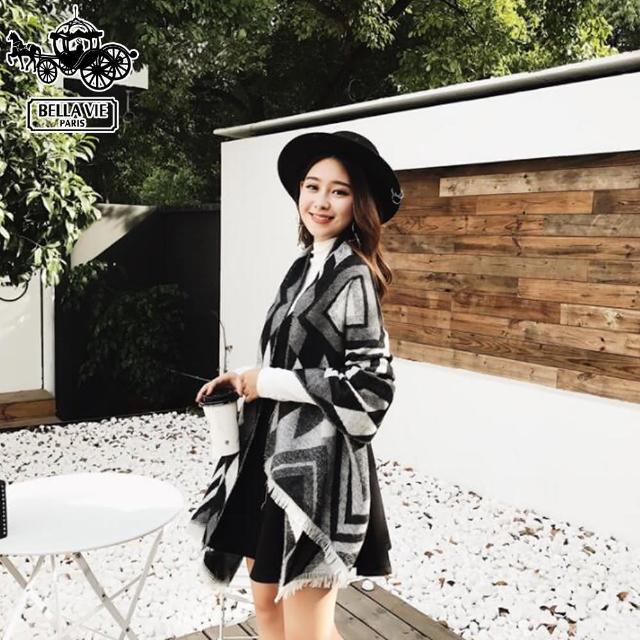 【Bella Vie】歐美時尚菱格仿羊絨圍巾披肩(共3色)