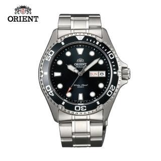 【ORIENT 東方錶】ORIENT 東方錶 WATER RESISTANT系列 200m潛水機械錶 鋼帶款 黑色 FAA02004B(FAA02004B)