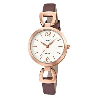 【CASIO 卡西歐】指針女錶 皮革錶帶 白 防水(LTP-E402PL-7A)
