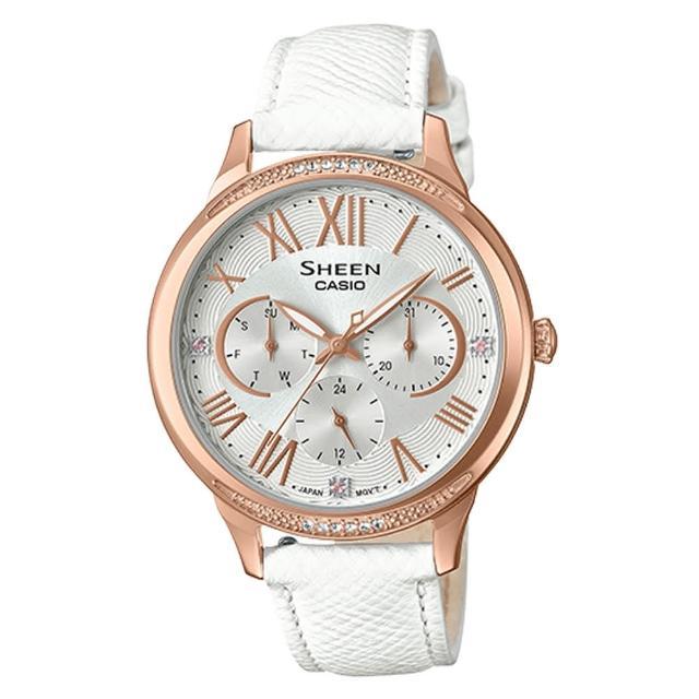 【CASIO 卡西歐】三眼指針女錶 皮革錶帶 銀 防水(SHE-3058LTD-7A)
