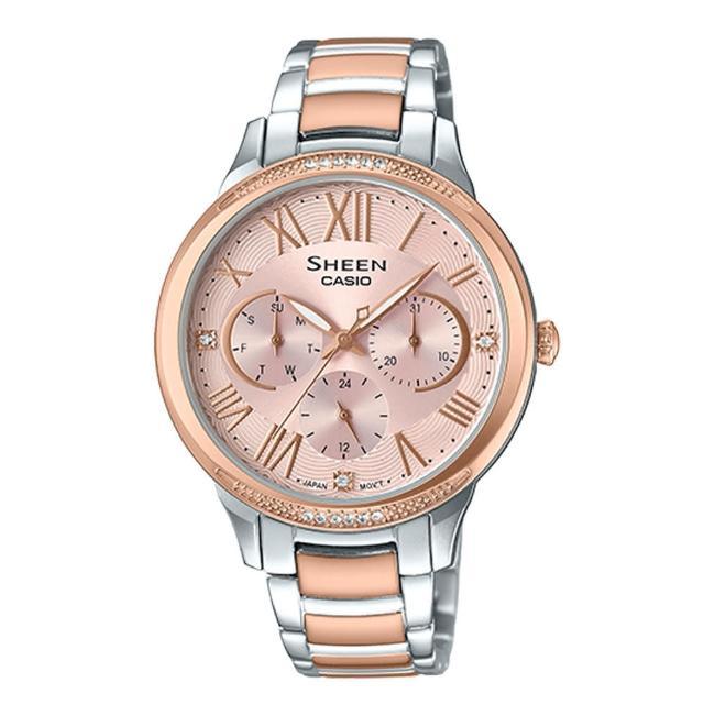 【CASIO 卡西歐】三眼指針女錶 不鏽鋼錶帶 玫瑰金 防水(SHE-3058SPG-4A)