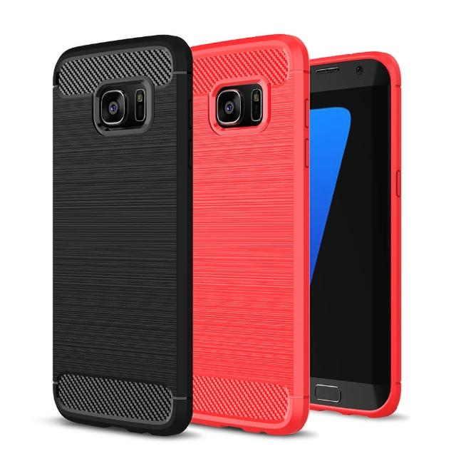 【YANG YI 揚邑】Samsung Galaxy S7 edge 5.5吋 碳纖維拉絲紋軟殼散熱防震抗摔手機殼