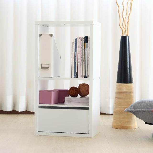 【EASY HOME】兩格加厚收納櫃附抽屜&活動板(雪白色)