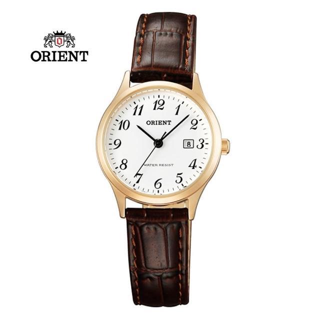 【ORIENT 東方錶】TRADITIONAL STYLE系列 復古羅馬數字石英錶 皮帶款 玫瑰金色 - 28mm(FSZ3N007W)