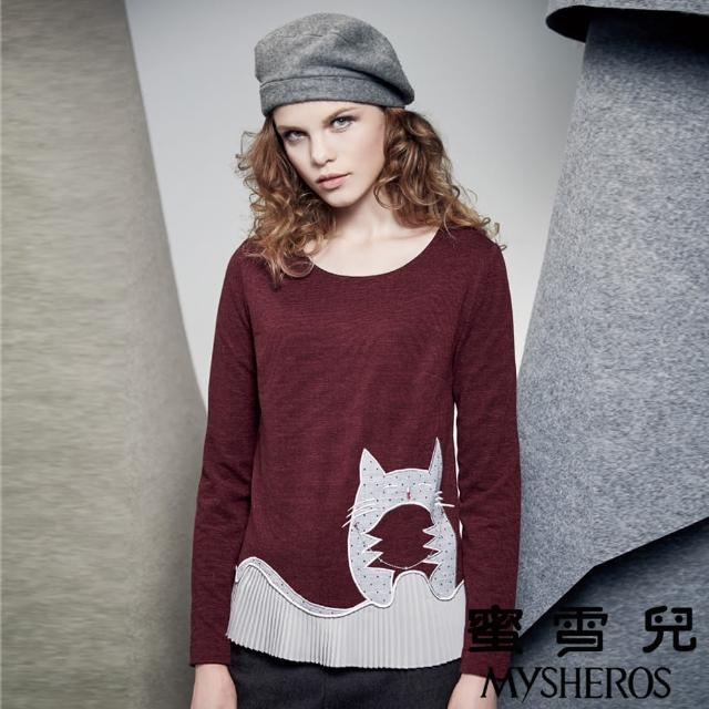 【mysheros 蜜雪兒】圓領貓咪貼布拼接雪紡上衣(酒紅)