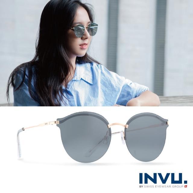 【INVU瑞士】九層鍍膜強化偏光金屬水銀太陽眼鏡(黑/金 T1801B)