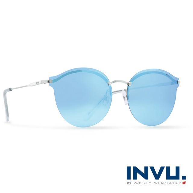 【INVU瑞士】九層鍍膜強化偏光金屬水銀太陽眼鏡(銀 T1801C)