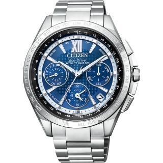 【CITIZEN 星辰】限量 光動能鈦GPS衛星對時手錶-藍x銀/43mm(CC9010-66L)
