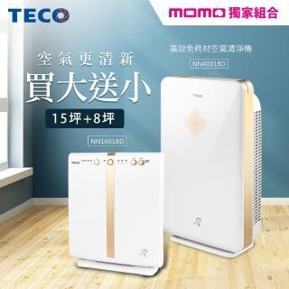 【TECO東元】高效免耗材空氣清淨機NN4001BD(買大送小)