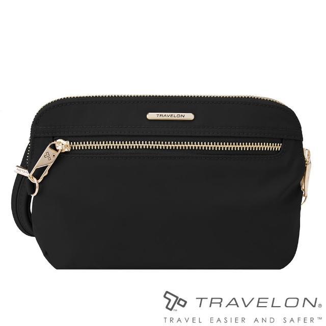 【Travelon美國防盜包】TL-43202-17 黑(都會小資女最愛實用型手持側肩兩用包RFID/透氣網布/防割鋼網)