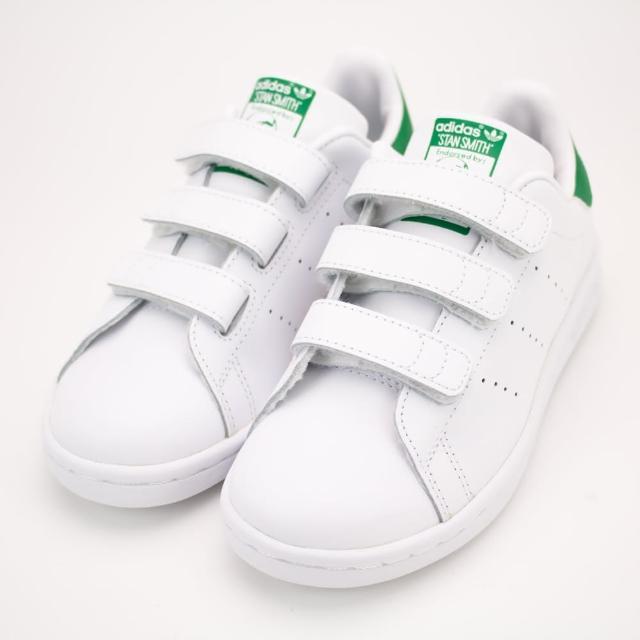 【adidas 愛迪達】愛迪達-STAN SMITH CF C 經典 史密斯 -白綠-M20607(童休閒鞋)