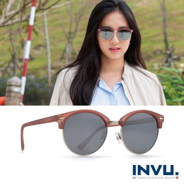 【INVU瑞士】九層鍍膜強化偏光經典上眉圓框水銀太陽眼鏡(霧棕 T1805C)