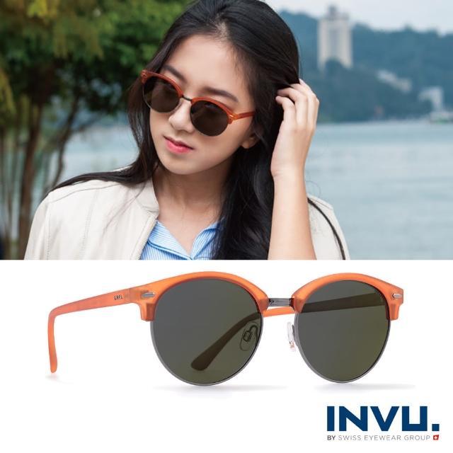 【INVU瑞士】九層鍍膜強化偏光經典上眉圓框水銀太陽眼鏡(霧橘 T1805B)