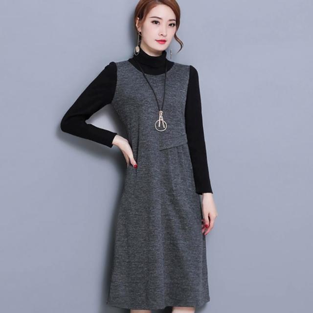 【ALICAI 艾麗彩】深灰假兩件針織不對稱剪裁短裙洋裝(中大碼/M-3XL)