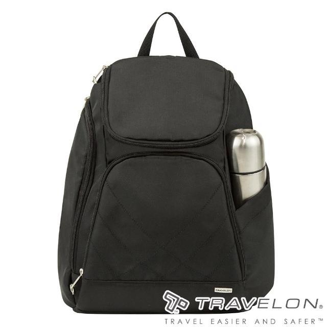【Travelon美國防盜包】TL-42310-15 黑(簡單素面風格經典防盜雙肩後背包 休閒旅遊/防割鋼網/RFID個資防盜)