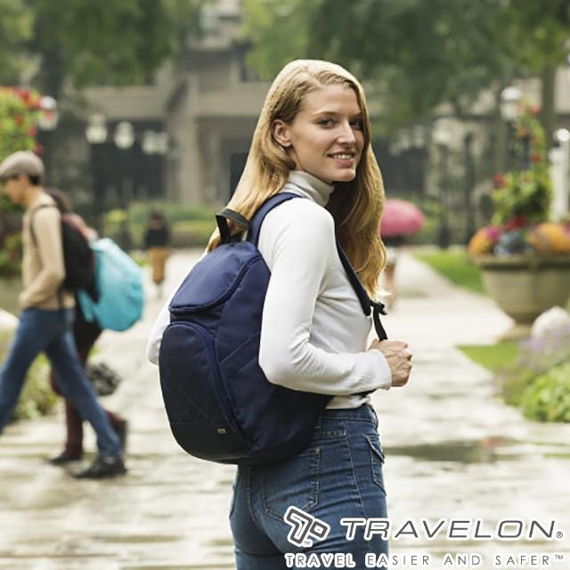 【Travelon美國防盜包】TL-42310-15 深藍(簡單素面風格經典雙肩後背包 休閒旅遊/防割鋼網/RFID個資防盜)