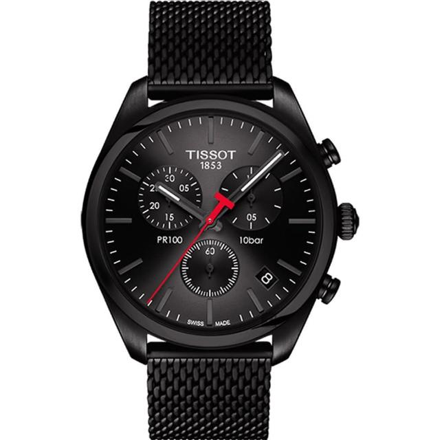 【TISSOT 天梭】PR100 經典都會型男 米蘭計時腕錶-黑/41mm(T1014173305100)
