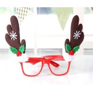 【交換禮物】摩達客-聖誕派對造型眼鏡(咖啡鹿角)/