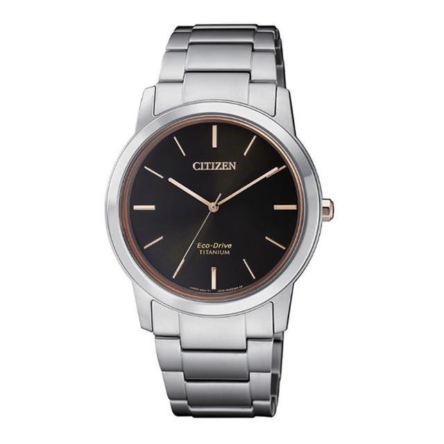 【CITIZEN 星辰】PAIR對錶系列 Eco-Drive 簡約紳士品味光動能鈦金屬腕錶-黑x玫瑰金/34mm(FE7024-84E)