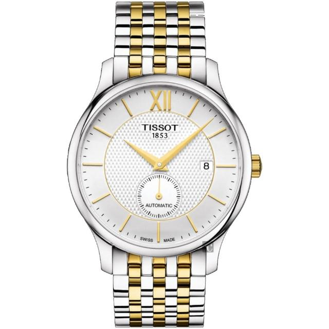 【TISSOT 天梭】Tradition 小秒針機械錶-銀x雙色/40mm(T0634282203800)