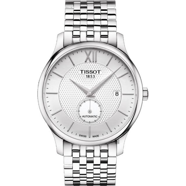【TISSOT 天梭】Tradition 小秒針機械錶-銀/40mm(T0634281103800)