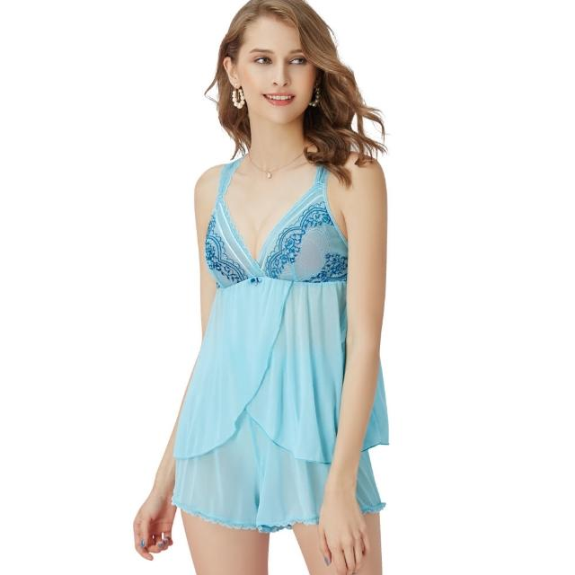 【Swear 思薇爾】啵時尚花心思系列蕾絲性感衣褲二件式小夜衣(礦水藍)