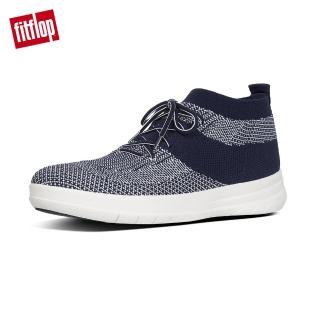 【FitFlop】UBERKNIT SLIP-ON HIGH TOP SNEAKERS 輕量繫帶高筒休閒鞋-男(午夜藍/都會白)