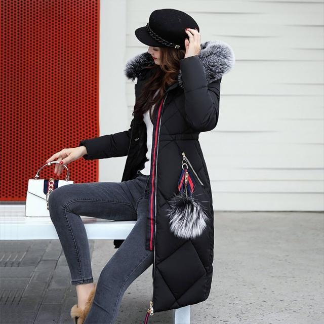 【DearBaby】顯瘦保暖毛球裝飾長版毛領羽絨棉外套大衣-五色