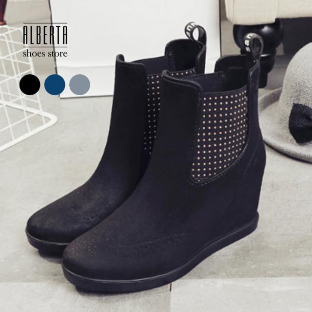 【Alberta】雨鞋女短筒雨靴下雨天時尚成人PVC防水套鞋韓國防滑內增高5CM楔型