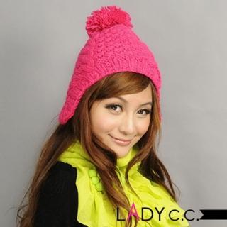 【Lady c.c.】繽紛飛行注目款造型毛帽(桃)