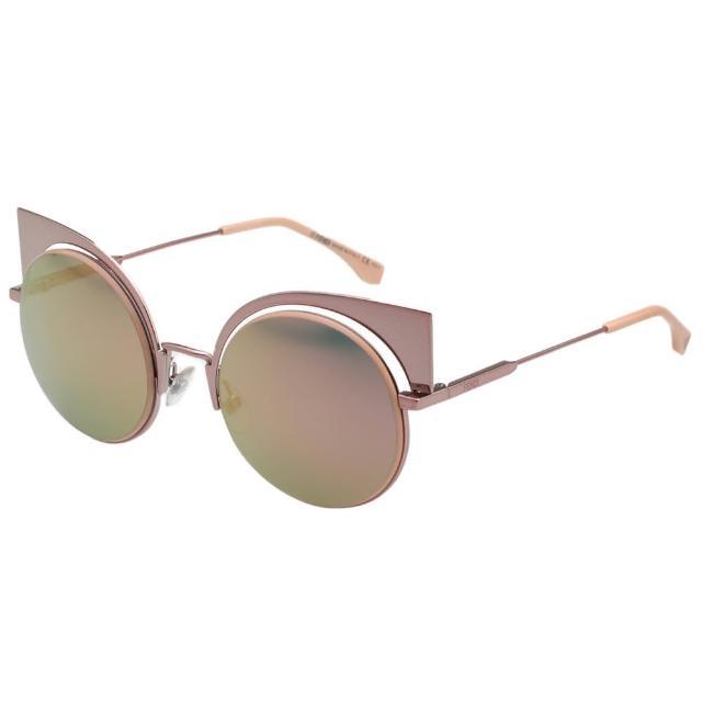 【FENDI 芬迪】-廣告主打 水銀鏡面 太陽眼鏡 FF0177S(玫瑰金)