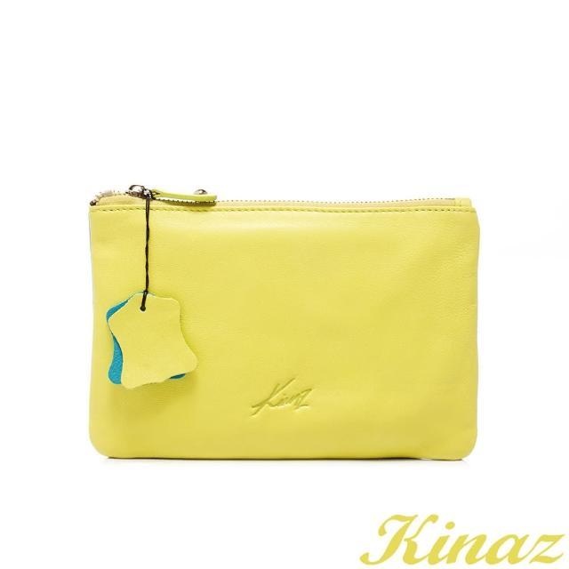 【KINAZ】玩色盛宴-鮮豔妝點全真皮手拿包-螢光綠