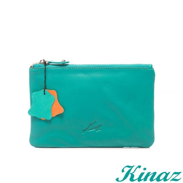 【KINAZ】玩色盛宴-鮮豔妝點全真皮手拿包-亮麗橘