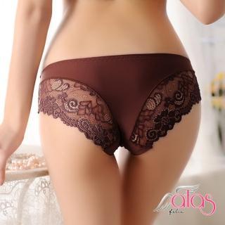 【alas】三角內褲 無痕裁片輕薄蕾絲女性內褲(咖啡色)