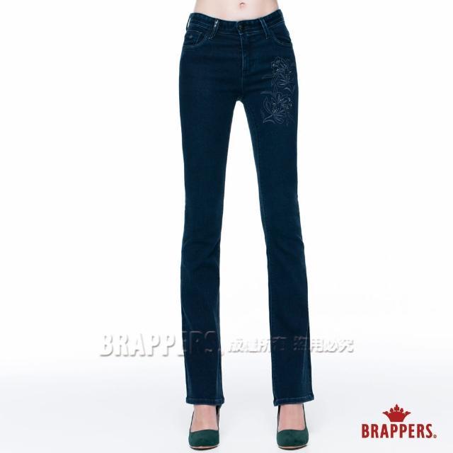【BRAPPERS】女款 新美腳Royal系列-女用中腰彈性鑲鑽小喇叭褲(藍)