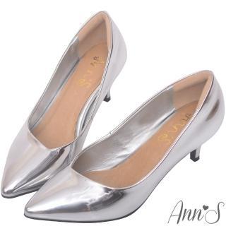 【Ann'S】漫步華爾滋-素色品味斜口低跟舒適尖頭鞋(銀)
